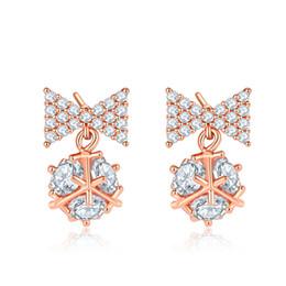 Butterfly White Rose Australia - 2019 Silver & Rose Gold Color Earrings Butterfly Style Stud Earrings For Women Crystal Luxury Rhinestone Earring FWE024