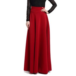 Wholesale M S L xl New High Waist Pleat Elegant Skirt Wine Red Black Solid Color Long Skirts Women Faldas Plus Size Ladies Jupe