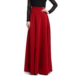 4a3b61ee15 S M L 5xl New High Waist Pleat Elegant Skirt Wine Red Black Solid Color  Long Skirts Women Faldas Plus Size Ladies Jupe