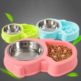 water feeders Australia - Dog Cat Bowls Stainless Steel Puppy Kitten Bowl Slow Feeder Bowl Pet Cat Non-Slip Drink Water Dual Bowls Blue Pink Green