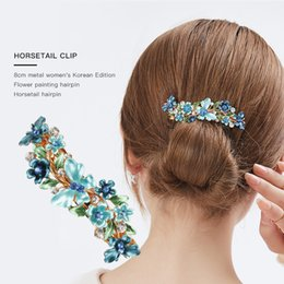 flower hair clip vintage Australia - Multicolor Crystal Rhinestone8cm spring Hair Clip with Stamp Women Flower vintage Barrettes hair extension Fashion Hair Accessories