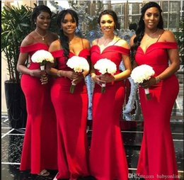 Cheap Red Coral Beads Australia - Elegant Red Mermaid Bridesmaids Dresses South African Black Girls Summer Wedding Guest Party Dress Plus Size Cheap