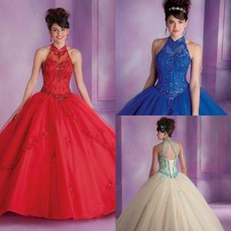 royal ball suit Australia - Long Halter Royal Blue Quinceanera Ball Gown Princess Red Beaded 2018 Vestido Off The Shoulder Mother Of The Bride