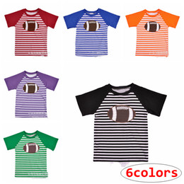 Tops Girl Shirt Design Australia - Children Football Design Shirts Summer Kids Girl Boy Striped Tops raglan short sleeve Pullover Tees 6Colors 10size