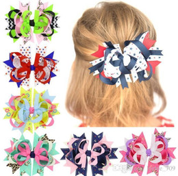 $enCountryForm.capitalKeyWord Australia - 18pcs Dots Hair Bows Navy Blue Red Hairpin Stacked Boutique Kids Bows Hair Clips For Girls Hair Accessories Hc098