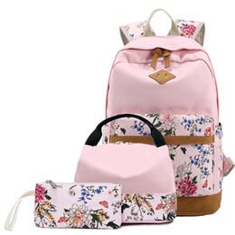 school bags set for girls 2019 - 3 Pcs set Canvas Backpack lady Flower print School Backpacks Schoolbag For Teenagers Girl Fashion Student Book Bag Boys