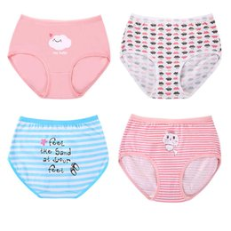 wholesale girls school shorts NZ - Teenage Girl Underwear Cute Cat Children Shorts Panties Girls Briefs Cotton Primary School Students Striped Underpants 4T 8 14Y