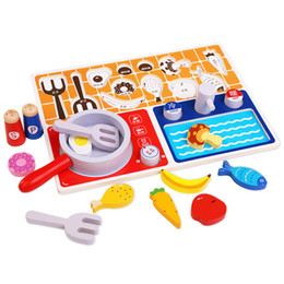 kitchen play set NZ - Children Pretend Play Kitchen Toys Simulation Peculiar Wooden Cooking Bench Playing Set for Kid Learning Kitchen Skill Gift 2019