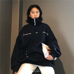Wholesale top korean long sleeve for sale – plus size Women Turtleneck Hoodies Loose Oversized Funny Letter Print Streetwear Tracksuit Pullover Hoodies Korean Kpop Clothes Sweatshirt Top