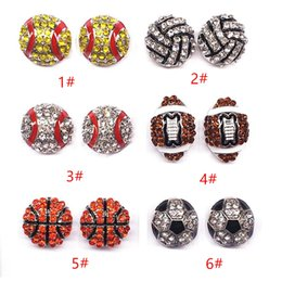 $enCountryForm.capitalKeyWord Australia - Fashion Sports Ball shape Stud Earrings Softball basketball volleyball bowling Baseball Football Rugby Crystal Earrings women Jewelry T0313
