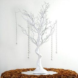 "Chinese  30"" Manzanita Artificial Tree White Centerpiece Party Road Lead Table Top Wedding Decoration +20 crystal Chains manufacturers"