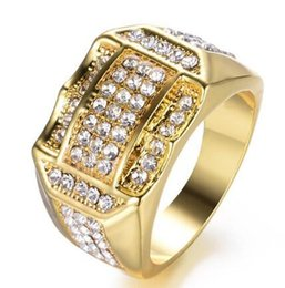 $enCountryForm.capitalKeyWord Australia - Gold Rhinestone Ring mens ring hip hop jewelry luxury diamond Zircon ring Full Gemstones Wedding Band fashion Jewelry