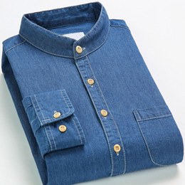 $enCountryForm.capitalKeyWord Australia - 100% Cotton High Quality Men's Denim Dress Shirt Mandarin Collar Long Sleeved Social Fashion Soft Men Smart Casual Denim Shirt