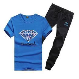 Wholesale men swag suits online – oversize M11611 men s s xl swag t shirts long pants Tracksuits skateboard solid hip hop letter Leisure suit