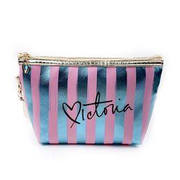 $enCountryForm.capitalKeyWord Australia - Portable Makeup Case For Women Cosmetic Bags Pouch Travel Organizer Purse Wristlet With Zipper Striped Bags