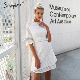 $enCountryForm.capitalKeyWord NZ - Simple Elegant Hollow Out Pointy Dress Feminine Half Shell Summer Style Midi White Dress 2018 Spring Short Casual Dress Vestidos Y19070901