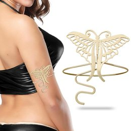 armband jewelry women 2020 - Retro Gold Filigree Butterfly Bracelet Armband Upper Arm Cuff Armlet Belly Dance Women Gift Jewelry Pulseiras Bileklik B