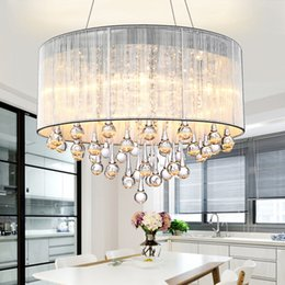 crystal light shades NZ - Modern Drum Pendant Light Fabric Shade Rain Drop Crystal Chandeliers 6 Lights E14 E12 Bulb Crystal Lamp Light Fixture D.45cm