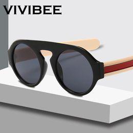 483f8b6145da8 VIVIBEE Vintage Round Yellow Lense Sunglasses for Women Men SaltBae Fashion  UV400 Steampunk Rounded Glasses 2019 Trend Shades