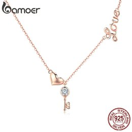 f81b9dc98 Bamoer Romantic 925 Sterling Silver Key Lock To Heart Pendant Necklaces  Women Gold Color Necklace Sterling Silver Jewelry Scn292 Y19050901