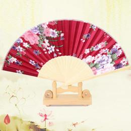 Woman Fans Australia - Hand Fan New Chinese Silk Flower Butterfly Folding Pocket Fan Birthday Party Favors Gift Women Dancing Hand Fans Decor