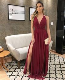 White V Cut Prom Dress Australia - Deep Low Cut V Neck Burgundy Chiffon Prom Dress with Split Chiffon Pageant Dress