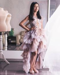 $enCountryForm.capitalKeyWord Australia - Lace Beaded 2019 African Flower Girl Dresses Tiers Hi-Lo A-line Little Girl Wedding Dresses Cheap Pageant Communion Gowns FL09