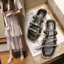 Crystal Heads Australia - Brand 2019 New arrival Summer shoes ladies square head slides Fashionable flats crystal slip on soft soles Slippers pantufa