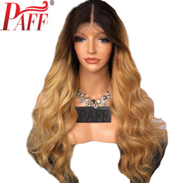 blonde body wave full lace UK - PAFF Ombre full lace human hair wig Brazilian body wave two tone Blonde #1B 27 human hair wig with Middle part baby hair