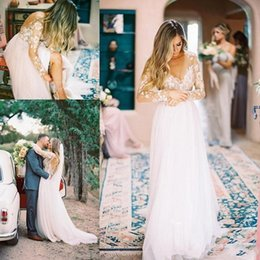 Cheap Short Backless White Dress Australia - Sexy White Bohemian Wedding Dresses Lace Tulle Country Garden 2019 Modest Sheer Neck Backless Long Sleeve Vintage Cheap Bridal Gowns Cheap