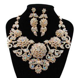 4ca8acc71 Big Blue Earrings Australia - wholesale boutique wedding jewelry set big  flowers Corsage Austrian crystal necklace