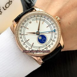 cheap rose watches Australia - 11 Color Luxry Cheap Cellini M50535-0002 White Moon Phase Dial Automatic Mechanical Mens Watch 39MM Rose Gold Case Leather Strap Watches