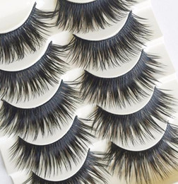 wholesale eyelashes transparent NZ - 5 Pairs New Fashion Women Handmade Black False Eyelashes Natural Soft Thick Long Voluminous Fake Lashes Makeup Tool