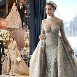 HigH neck arab dresses online shopping - Luxury Vintage Arab Muslim Lace Wedding Dresses with Detachable Train Champagne High Neck Kaftan Caftan Bride Wedding Gown