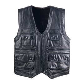 $enCountryForm.capitalKeyWord Australia - New Men's Waistcoat shearling fur Reporters Suit Pocket Quinquagenarian Men Genuine Leather Vest Tops Sleeveless Jacket 5XL 6XL