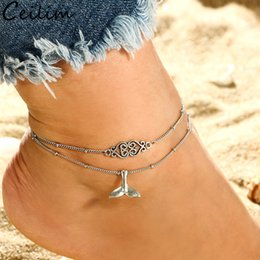 Wholesale Trendy Double Layer Mermaid Tail Anklet Handmade Heart Whale Tail Pendent Anklet Bracelets for Women Barefoot Summer Beach Jewelry Gifts