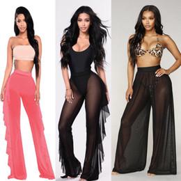 3cda54b3dc767 Sexy Women Beach Cover-Ups Mesh Ruffle Sheer Wide Leg Long Pants Trousers  Chiffon Casual Transparent Female Bikini Cover