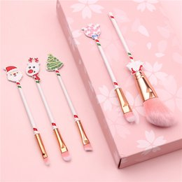 christmas makeup brush gift set UK - 100sets Christmas gift elk makeup brush beginner eyeshaow eyebrow lip brush blush brushes 5 pcs set with bag beauty tools gift free shipping