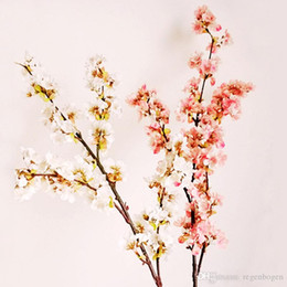 floor flower decoration Canada - 2pcs Cherry Blossom Artificial Flowers Wedding Decoration Small Sakura 3 Branches Fake Silk Flower DIY Cherry Tree Home Decor