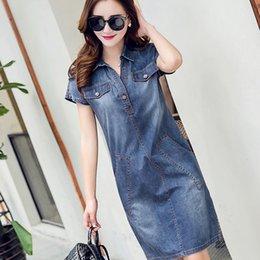 Discount plus size short sleeve denim shirt - 2019 Women's Denim Dress Plus Size 3xl Women Clothing Blue Jeans Shirt Dresses Ladies Office Loose Summer Dress Ves