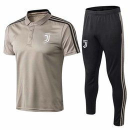 Chinese  Top qualtiy new RONALDO soccer polo shirt Juv short sleever training suit HIGUAIN DYBALA MANDZUKIC tracksuit suit Messi football uniform manufacturers