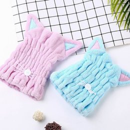 Long Hair Cats Australia - Cute Cat Microfiber Hair-drying Towel Bath Cap Strong Absorbing Drying Long Soft Special Dry Hair Cap Towel With Coral Velvet