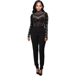 aa03cdedfd Wholesale- Jumpsuits For Sexy Bodysuit Women 2016 Sexy See Through Women  Black Mesh Jumpsuit Long Sleeve Party Sequined Bodycon Calvn Woman