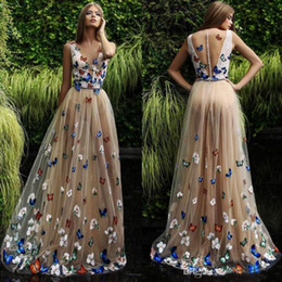 $enCountryForm.capitalKeyWord Australia - Butterfly And Flower Prom Dresses 2019 Sheer Neck Sleeveless Long Evening Gowns Back Covered Buttons Arabic Formal Party Dress Custom Made