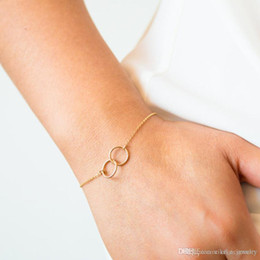 $enCountryForm.capitalKeyWord Australia - Simple Two ring Gold colour Metal Plated Chain for Women girl Hand Bracelet Small Fashion Jewelry Gift