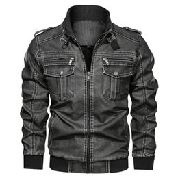 6xl motorcycle Australia - Mens Jacket 2019 Winter New Arrivals Men's Casual Washed Motorcycle Jacket Coat Men Vintage PU Outerwear Male Clothes 6XL