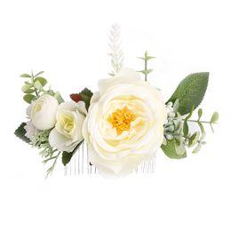 $enCountryForm.capitalKeyWord UK - Rose Flower Hair Combs Wedding Crown Headwear Blooming Flower Headband for bride girls flower hair clip Wedding Jewelry