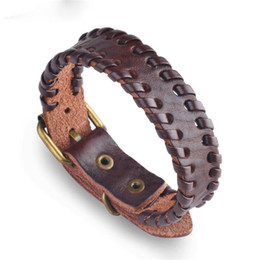 $enCountryForm.capitalKeyWord Australia - Fashion Genuine Leather Bracelet for Men Alloy Watch Buckle Adjustable Brown Braided Leather Strand Bracelet B059