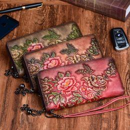 $enCountryForm.capitalKeyWord Australia - WERAIMJX Designer Flowers Embossed Women Wallets Genuine Leather Long Wallets For Women Causal Coin Purse Card Holders Carteras