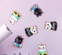 Cute Cartoon Charms Australia - 60 pcs cartoon cute cats Necklace Key chain earrings Metal Charm Pendants Jewelry Making